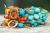 Unique & Bold Orange, Blue, Green & Bronze Artisan Statement Bracelet