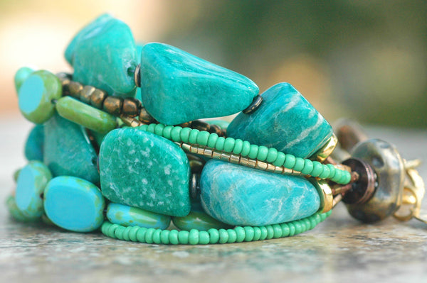 Russian Amazonite, Teal, Mint, Aqua, Gold & Bronze Statement Bracelet