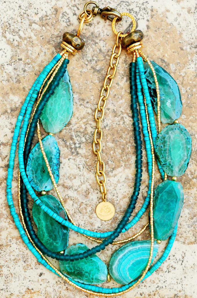 Preferred Blue Green Agate Slab Turquoise & Gold Multi-Strand Statement Necklace JX74