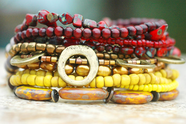 Burgundy, Yellow and Bronze Mixed Media Cuff Bracelet