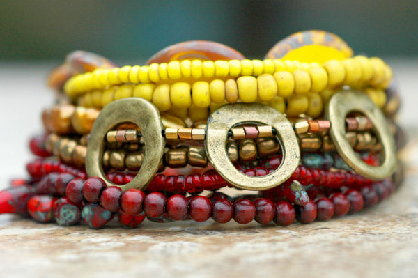 Burgundy, Yellow and Bronze Mixed Media Cuff Statement Bracelet