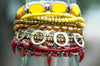 Burgundy, Yellow & Bronze Mixed Media Artisan Cuff Statement Bracelet
