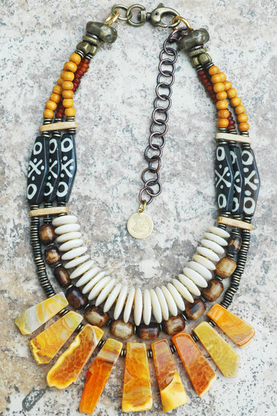 Exotic Tribal Brown Bone, Shell Disc and Amber Agate Fringe Necklace