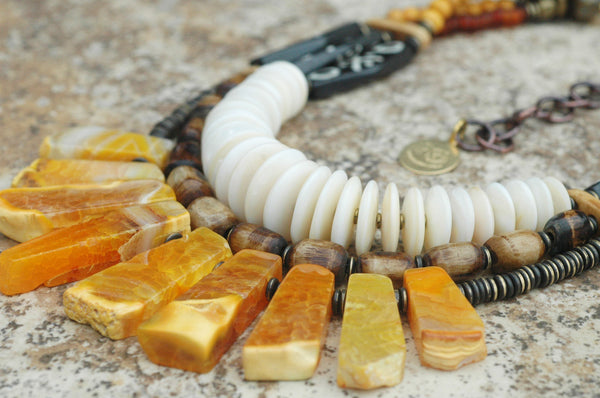 Exotic Tribal Brown Bone, Shell Disc and Amber Agate Fan Necklace