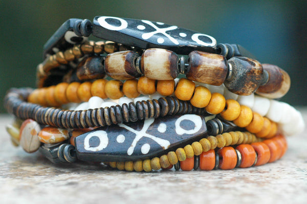 Exotic Tribal Brown Bone, Amber, Ivory and Bronze Statement Bracelet