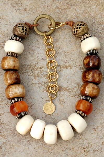 African-Inspired Bone, Brass, Leather and Amber Choker Necklace