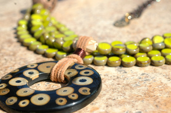 Designer Multi-Strand Lime Green and Bamboo Donut Pendant Necklace