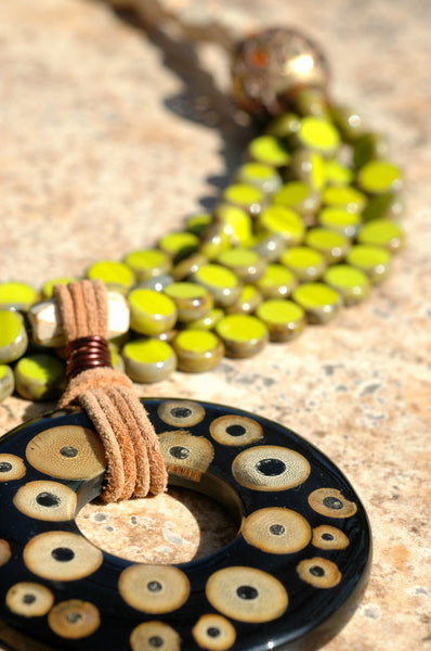 Designer Multi-Strand Lime Green and Bamboo Donut Statement Necklace
