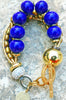 Holiday Inspired Lapis Blue Venetian Glass & Gold Statement Bracelet