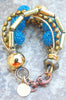 Holiday Inspired Gold, Bronze, Pearl and Blue Glass Statement Bracelet