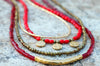 Holiday Inspired Red Glass, Bronze and Gold Charm Layered Necklace