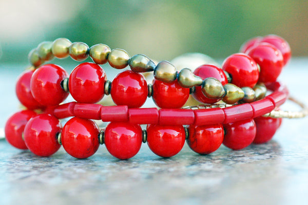 Holiday Inspired Red Venetian Glass, Coral & Gold Statement Bracelet