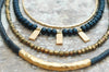Holiday Inspired Black Onyx, Bronze and Gold Charm Layered Necklace