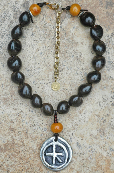Brown Kukui Nut, Mustard Terra Cotta and Silver Medallion Necklace