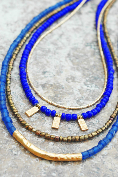 Holiday Inspired Long Blue Glass, Bronze and Gold Charm Necklace
