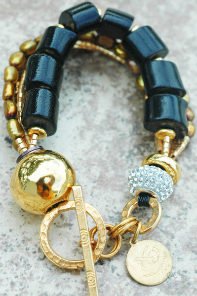 Holiday Inspired Rhinestone, Black Coral, Bronze Pearl & Gold Bracelet