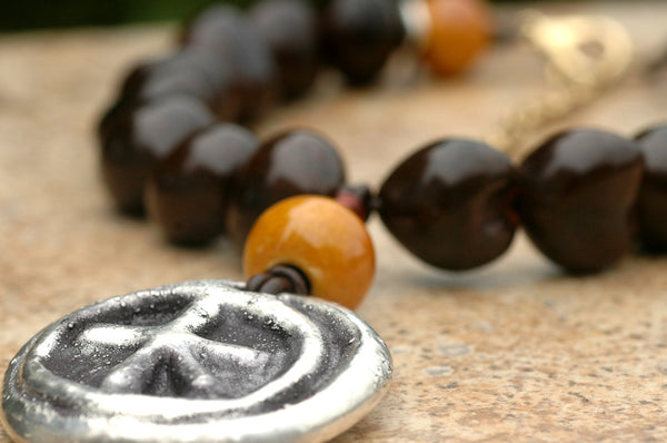Brown Kukui Nut, Mustard Terra Cotta Leather & Silver Pendant Necklace