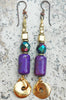 Purple Shimmer Glass and Gold Disc Dangle Earrings