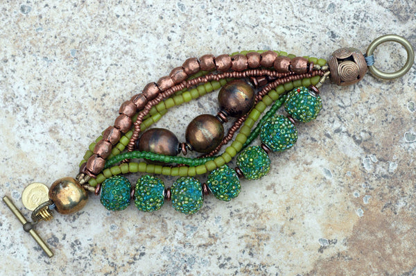 Exotic Bold Green & Copper Multi-Strand Mixed Media Statement Bracelet