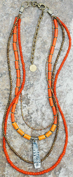 Brilliant Orange and Bronze Layered Everyday Shield Pendant Necklace