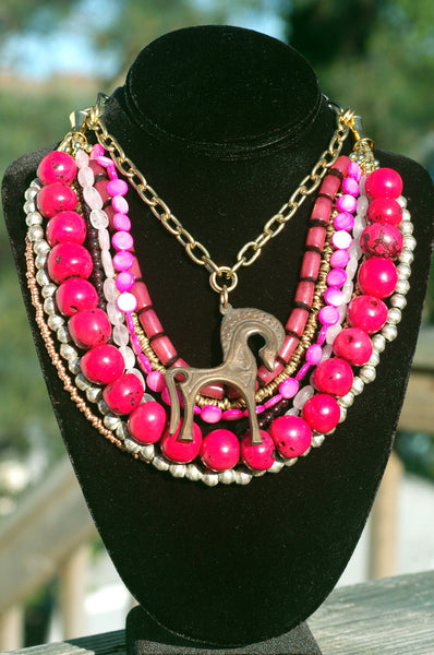 Artisan Multi-Strand Pink and Bronze Trojan Horse Statement Necklace