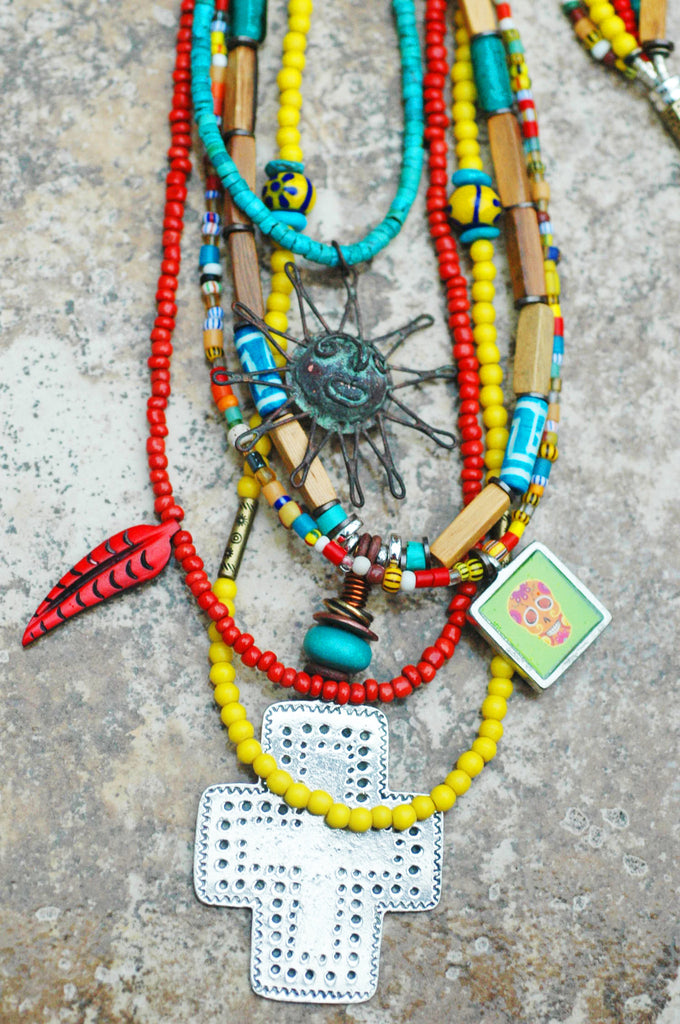 Necklace mexican pendant sun skull wood multi media mexican inspired bohemian long sun cross and skull pendant necklace aloadofball Choice Image