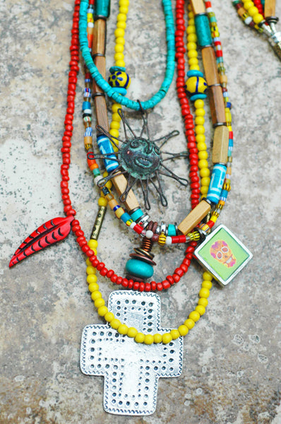Mexican Inspired Bohemian Long Sun, Cross and Skull Pendant Necklace