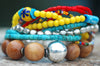 Mexican Inspired Bohemian Red, Yellow, Turquoise & Wood Charm Bracelet