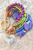 Purple, Green and Copper Artisan Mixed Media Boho Heart Charm Bracelet
