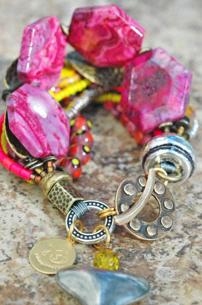 Pink Yellow Bronze Artisan Mixed Media Heart Charm Statement Bracelet