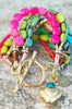 Blue, Green & Pink Artisan Mixed Media Boho Chic Heart Charm Bracelet