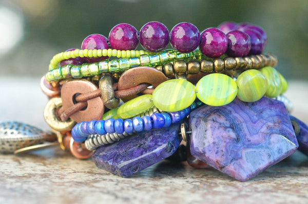 Purple, Green and Copper Artisan Mixed Media Heart Charm Bracelet
