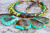 Exotic Emerald Agate, Chartreuse Glass & Bronze Cross Fringe Necklace