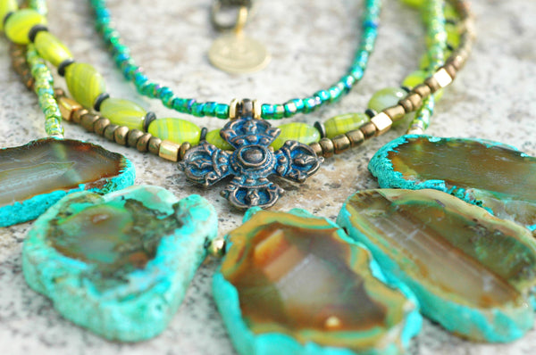 Exotic Emerald Agate Fringe, Chartreuse Glass & Bronze Cross Necklace