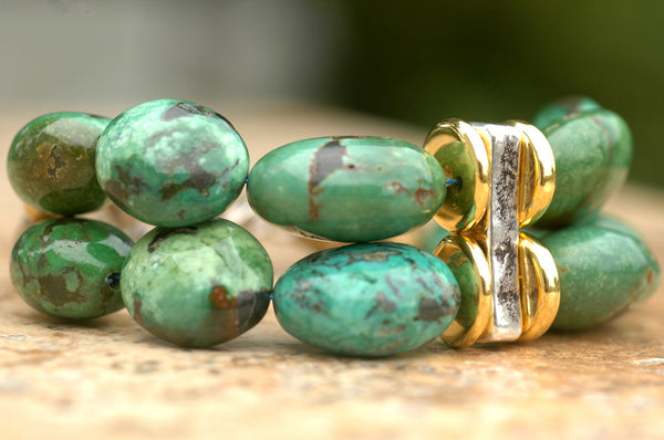Essential Bold & Chunky Gold, Silver, Green Turquoise Bracelet