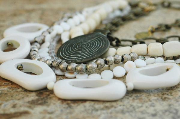 White, Bone, Silver and Brass Medallion Mixed Media Statement Necklace