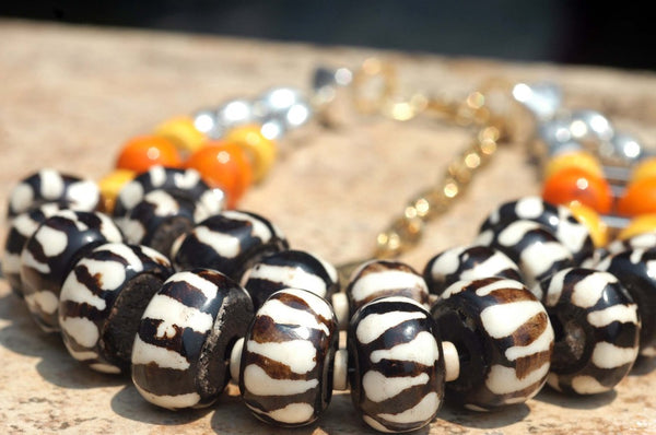 Exotic Zebra Print, Orange, Yellow & Silver Tribal Statement Necklace