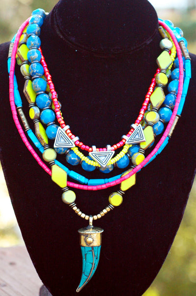 Neon Green, Pink, Blue Glass and Turquoise Tusk Statement Necklace
