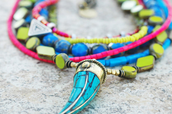 Neon Green, Pink and Blue Glass and Turquoise Tusk Pendant Necklace