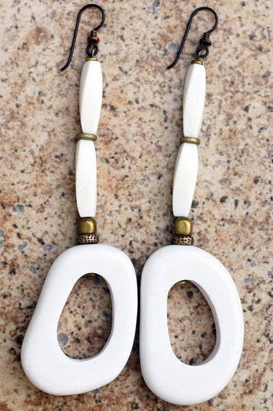 White Resin, Bone and Brass Hoop Earrings