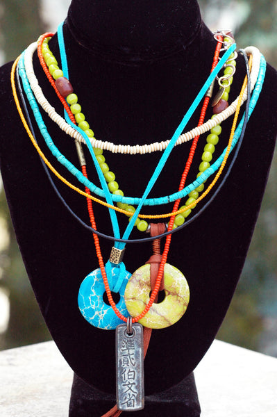 Long Bohemian Necklace | Island Turquoise, Lime & Orange Pendant