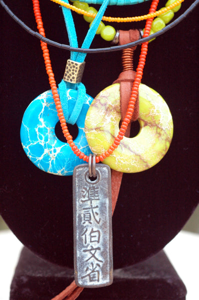Exotic Island Inspired Turquoise, Lime & Orange Long Bohemian Necklace