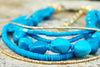 Turquoise and Gold Multi-Strand Layered Everyday Statement Necklace