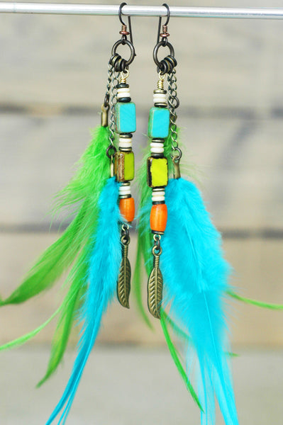 Exotic Island Inspired Turquoise, Lime and Orange Feather Earrings