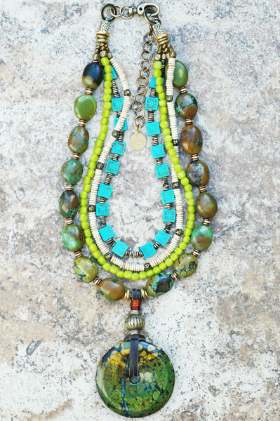 Boho Tribal Chartreuse, Aqua & Green Turquoise Disc Statement Necklace