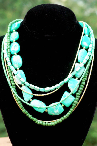 Amazonite, Mint Green, Teal and Gold Multi-Strand Statement Necklace