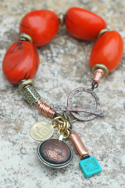 Exotic Orange Tagua Nut, Copper, Brass and Tibetan Coin Charm Bracelet