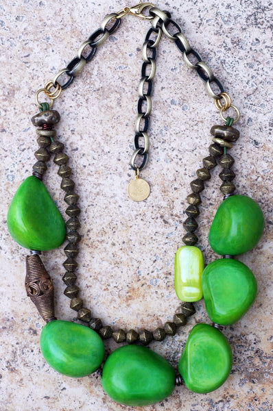 Bold and Organic Green Tagua Nut and African Brass Statement Necklace