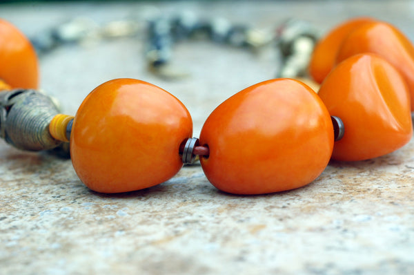 Bold and Organic Orange Tagua Nut and African Brass Statement Necklace
