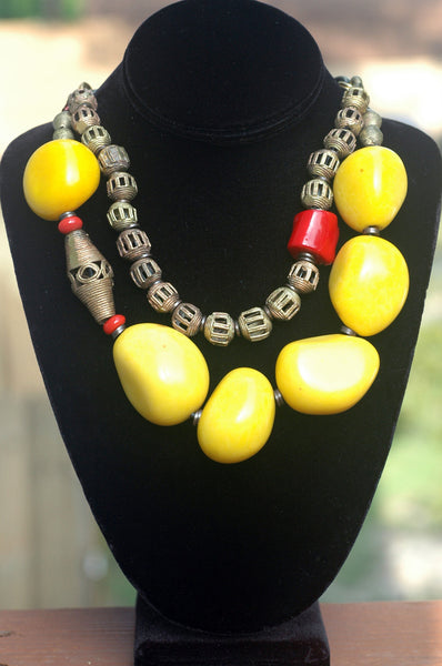 Bold Organic Yellow Tagua Nut, Coral & African Brass Choker Necklace